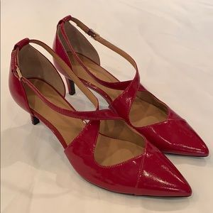 Calvin Klein red patent leather pointed toe heel